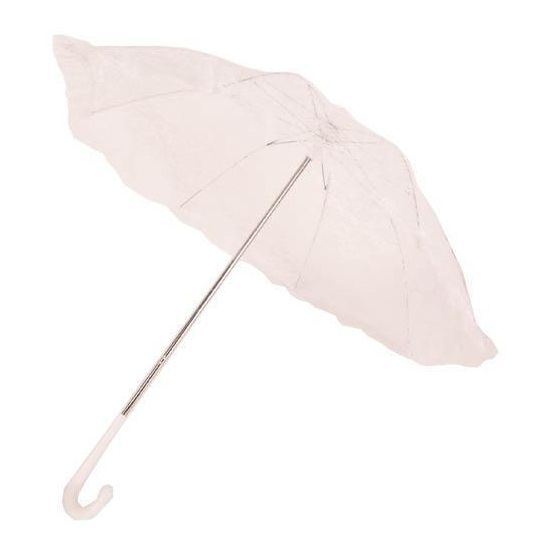 Witte kanten bydemeyer paraplu. Vintage bydemeyer paraplu met wit kanten scherm. Lengte: ongeveer 60 cm. Diameter: ongeveer 70 cm.