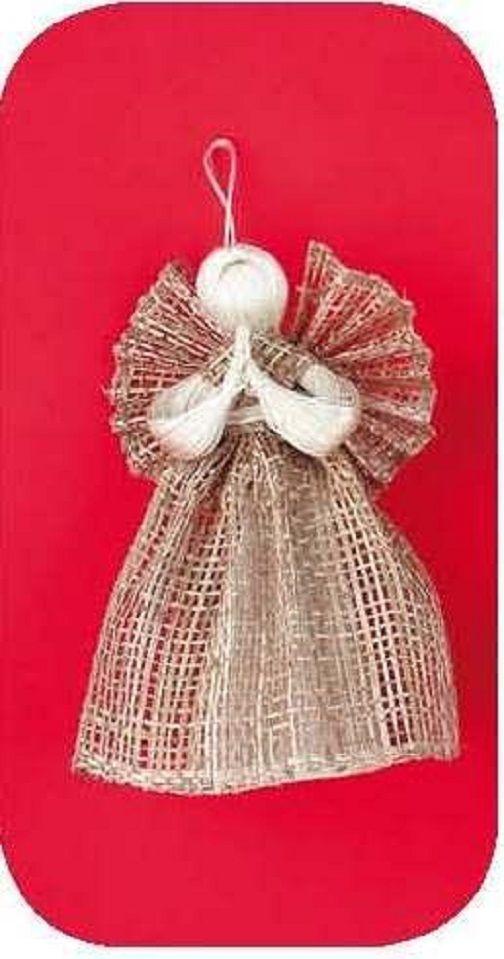 Andílek z pytloviny Romantický anděl z pytloviny-hnědý-15cm.
