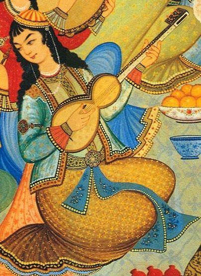 """Woman playing the tar in a painting from the Hasht Behesht Palace in Isfahan, Iran, 1669.  Tar (Tār; Persian: تار) is a Persian long-necked, waisted instrument, shared by many cultures and countries like Iran, Afghanistan ... etc. The word tar (Persian: تار) itself means """"string"""" in Persian. This is claimed to be the root of the names of the Iranian setar and the guitar as well as less widespread instruments such as the dutar and the Indian sitar…"""
