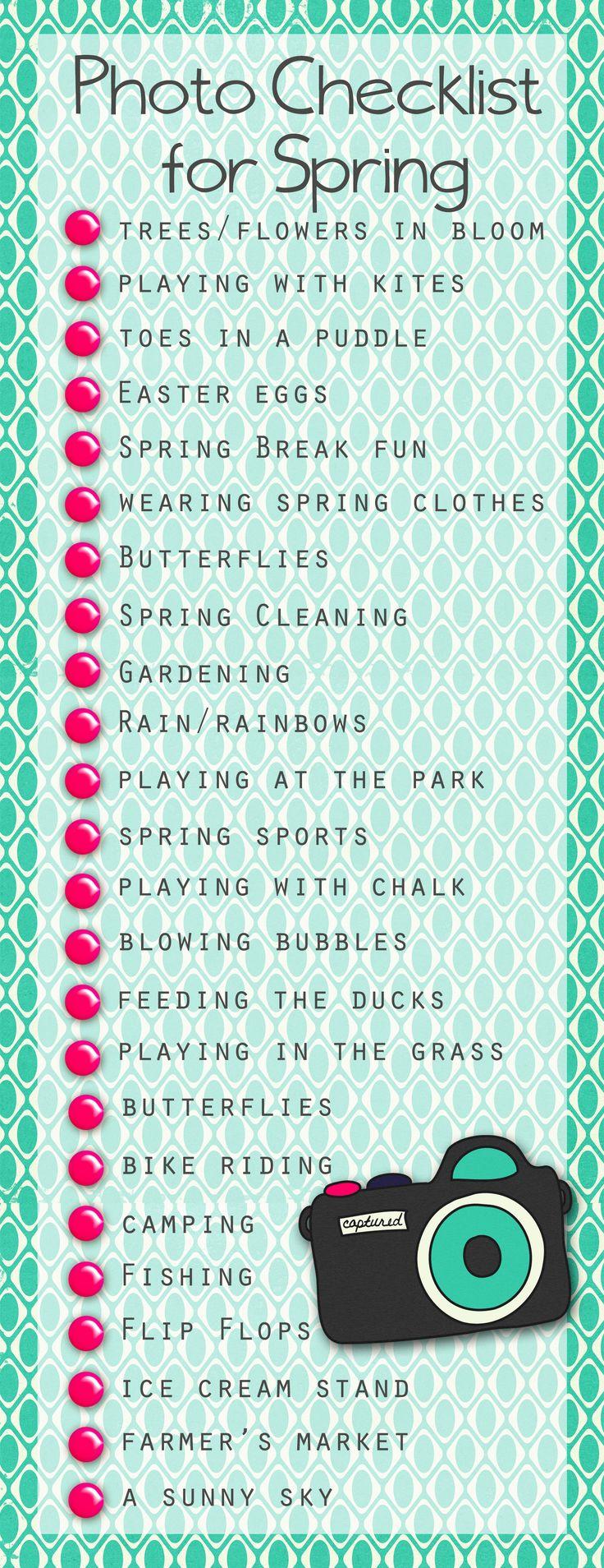 Spring Photo Checklist from Shawna Clingerman's blog.