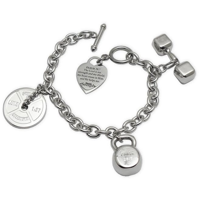 Shields of Strength - 3 Charm Stainless Steel Fitness Bracelet, $149.99 (http://www.shieldsofstrength.com/3-charm-stainless-steel-fitness-bracelet/)