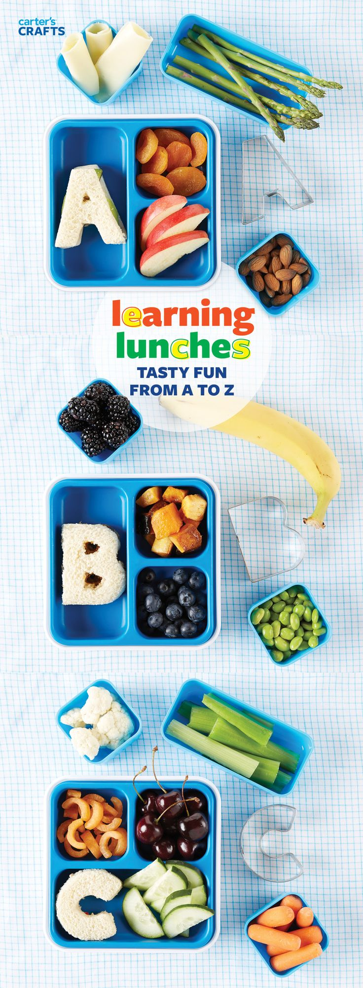 Learning Lunches are a brilliant way to teach your kids about a variety of healthy foods! Get alphabet cookie cutters and start with A for apples, almonds, apricots and asparagus. Add some avocado to a turkey sandwich and you have a balanced meal!