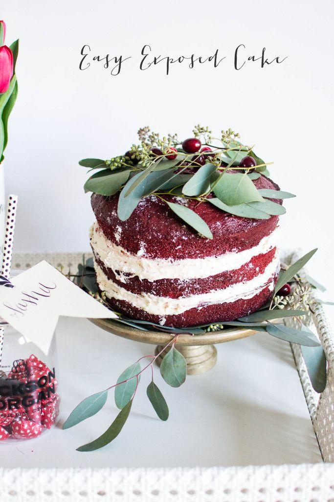 Exposed naked cake valentines day red velvet cake diy