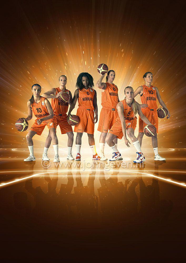 basketball player speler Dutch team Nederland Netherlands actiefoto kick ladies sport women