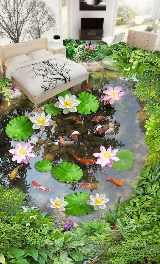 Lilypad Lotus Fish Cobble Stone Duck Pond 00003 Floor Decals 3D Wallpaper Wall Mural Stickers Print Art Bathroom Decor Living Room Kitchen Waterproof Business Home Office Gift