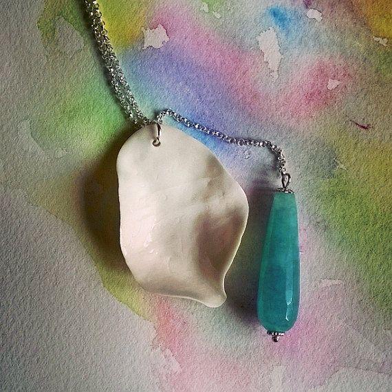 Porcelain necklace Crystal Leaves  Aquamarine by IlGiardinodiJull