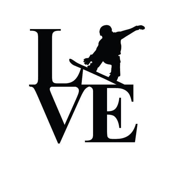 LOVE Snowboard Vinyl Decal by DecalStash on Etsy