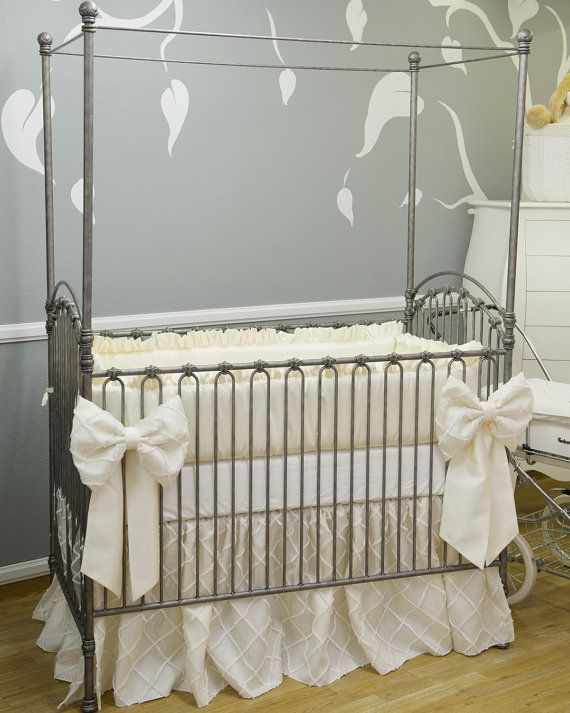 Double Bow Ivory Overlay Crib Bedding On Etsy 725 00 Nursery Cribs Baby