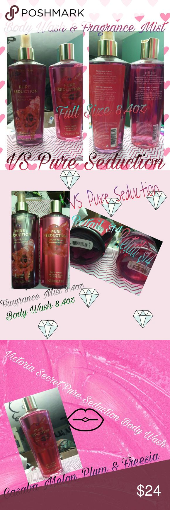 Victoria Secret Pure Seduction Body Wash & Mist FS Victoria Secret Pure Seduction 2pc bundle of Full Size (8.4oz) Body Wash & Fragrance Mist! Take notice that these are the old style bottles but the same amazing product! Notes: Casaba Melon, Red Plum & Freesia.. Wash~ Features conditioning Aloe Vera + antioxidant Vitamin E! Mist~ Refreshing formula infused with Aloe Vera & calming chamomile. Retail price for these are $14 each! I also have a 4.2oz Refreshing Body Mist that I may be willing…