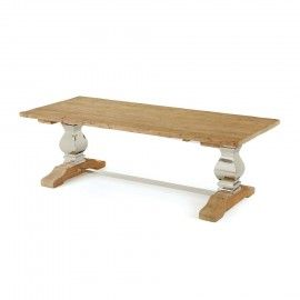 Polished Nickel & Rustic Wood Dining Table