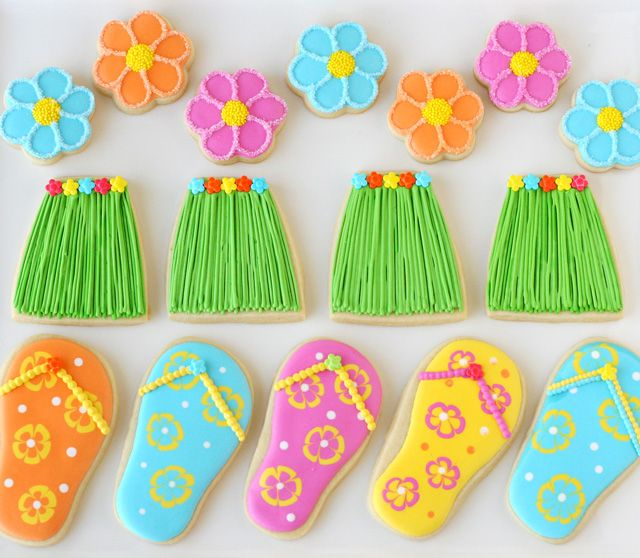 Hawaiian Grass Skirt and Flip Flop Cookies (how-to)