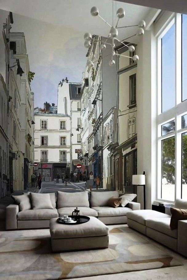 Mural Wall Decorations For Living Room I Like This Idea Maybe Different City Frank And