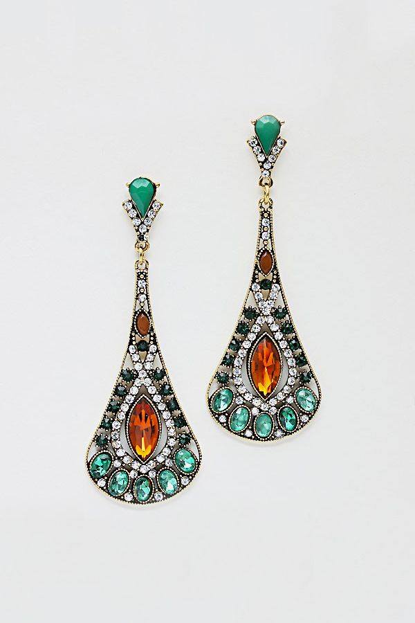 Alexandra Earrings in Emerald Crystal on Emma Stine Limited