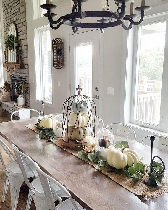 670 Likes 15 Comments Marie Maries Decor On Instagram Good Morning Friends Ki Fall Dining Room Farmhouse Table Centerpieces Farmhouse Table Decor