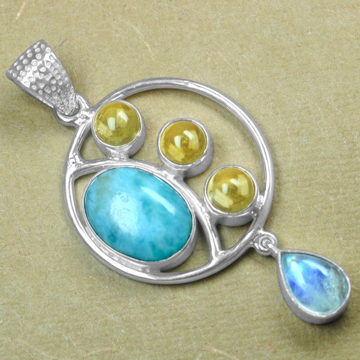 8.84 Gm 925 Sterling silver Natural Larimar Moonstone Citrine Pendant Jewelry $ #Unbranded