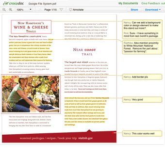 Crocodoc an online tool that is quickly becoming a go-to application in my technology toolbox. Crocodoc lets you easily share and review documents online including pdfs, Word documents, and PowerPoint slides. Crocdoc is now part of Box.  Learn more at https://www.box.com/