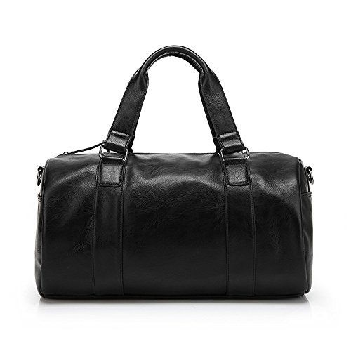 ZeleToile PU-50 Unisex PU Leather Handbag Travel Gym Weekender Holdall Hand Luggage Sports Bag Leather Overnight Duffle Bag (Black) *** More info could be found at the image url. #GymBags