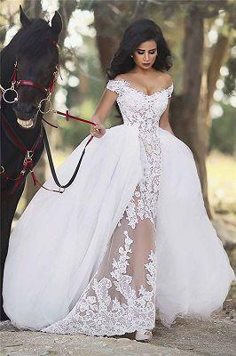 80e3cbe34 Glamorous Long Sleeves Tulle High Neck Bride Dresses Appliques Wedding  Dresses with Detachable Overskirt qq0375