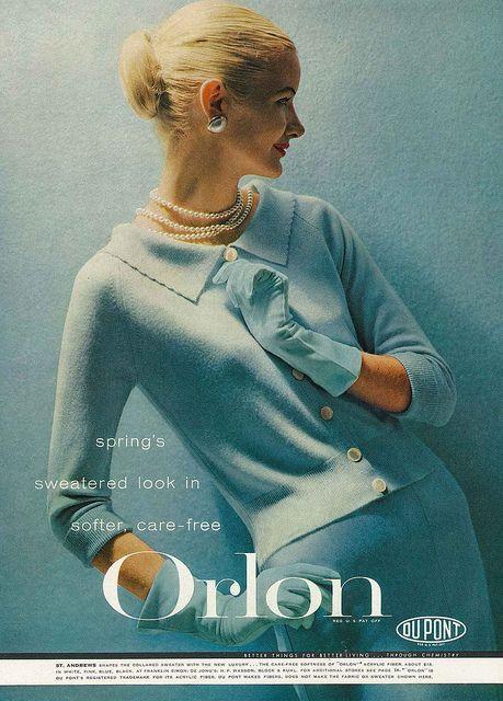 February Vogue 1956 50s color photo print ad model magazine fashion style baby blue sweater knit dress 60s orlon