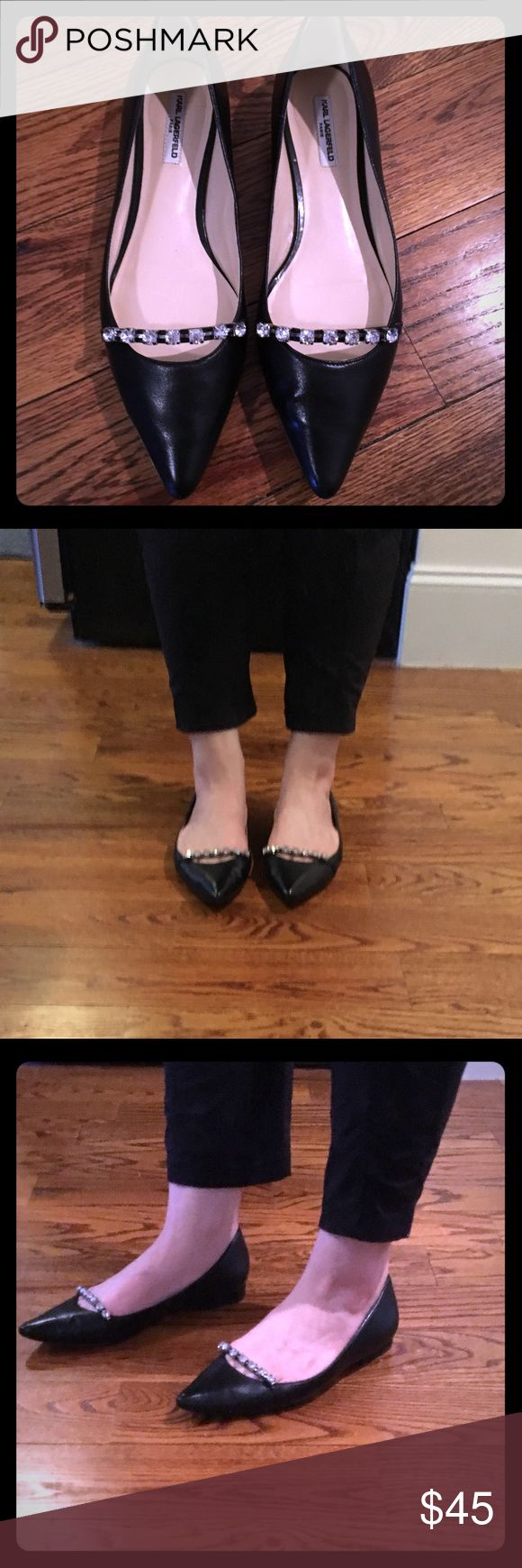 Karl Lagerfeld Paris Colette Leather Blk Flat -9.5 Karl Lagerfeld Paris Colette Leather Flat in black. Only worn once! A touch of glitter adds a sharp style to an iconic pointy-toe flat to create a flattering silhouette. Karl Lagerfeld Shoes Flats & Loafers