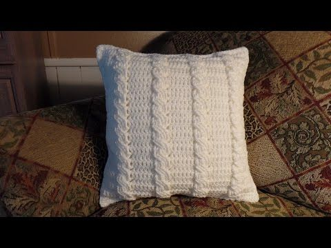 Crochet a cushion cover, basketweave - YouTube