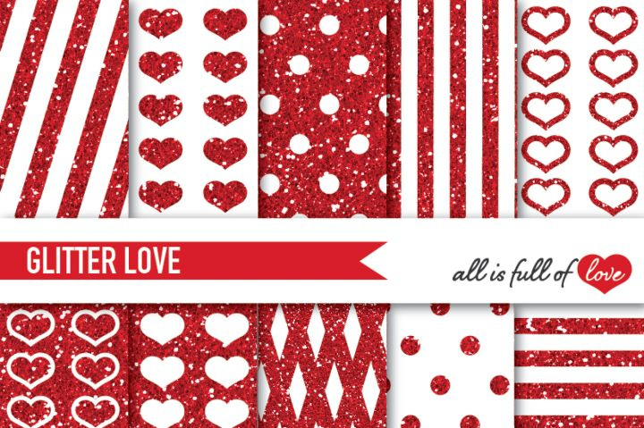 Red Glitter Digital Paper Pack Red Sparkle background By All is full of love
