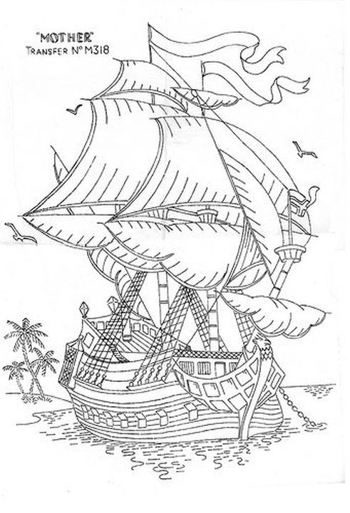 realistic traditional sailing ship difficult coloring pages