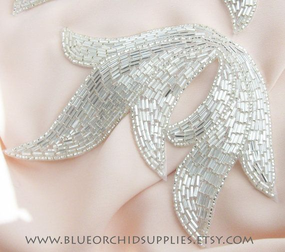Beaded Applique Silver Leaf - Sashes Fascinators Head Pieces Apparel Wedding Bridal DIY Art Deco - Silver Large Leaf-H