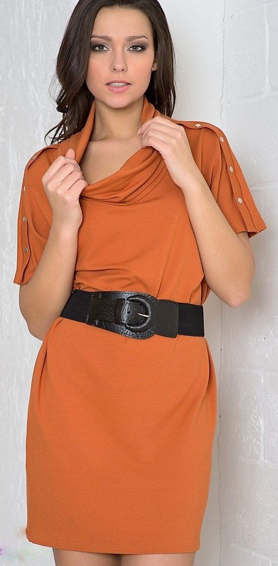 dress with sleeves to the elbow, and small buttons. tunic. circular collar.