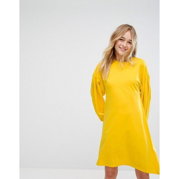 Monki Puff Sleeve Midi Sweat Dress ($57) ❤ liked on Polyvore featuring dresses, yellow, body con dresses, yellow midi dress, print dresses, yellow print dress and tall midi dress