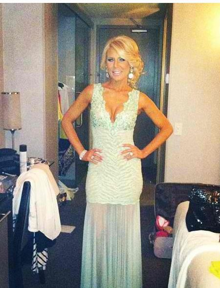 Gretchen Rossi's Mint Lace Gown on Watch What Happens Live DETAILS: http://www.bigblondehair.com/real-housewives/rhoc/gretchen-rossis-mint-green-watch-what-happens-live-dress-earrings/