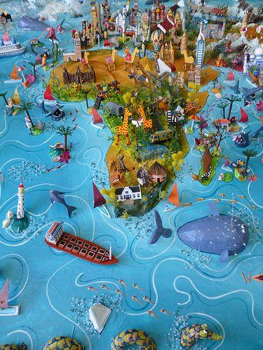 Sara Drake - Africa detail from large 3D world map.