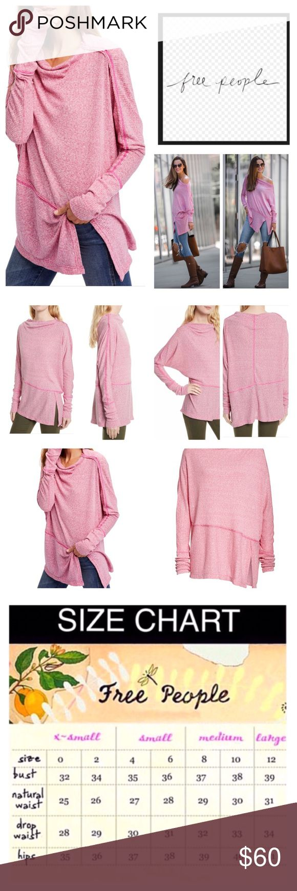 "Free People London Town Asymmetrical Thermal. NWT. Free People London Town Asymmetrical Thermal Top, 50% polyester, 38% cotton, 12% rayon, machine washable, 30"" armpit to armpit (60"" all around), 20"" arm inseam, 28"" length, a chic asymmetrical hem with a breezy side slit lends a playful vibe to the London Town top,  cowl neckline, asymmetrical hem with slit,  measurements are approx.  NO TRADES Free People Tops Tunics"
