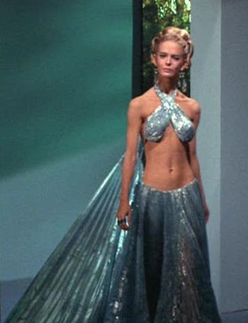 "Diana Ewing - Droxine (""The Cloud Minders"") - and her gravity-defying dress.: Cloud Minder, Droxine Costumes, Scifi, Trek Costumes, Cloud Cities"