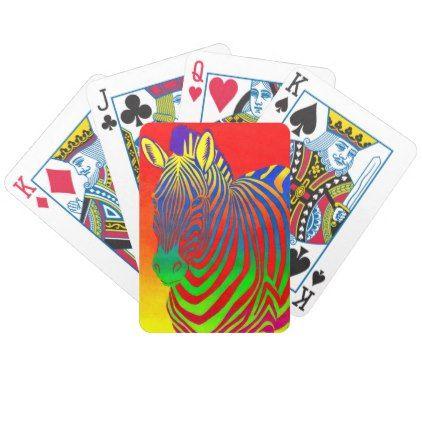 Psychedelic Rainbow Zebra Bicycle Playing Cards - horse animal horses riding freedom