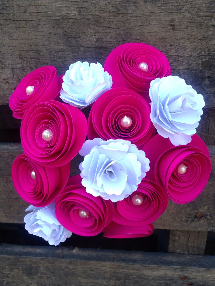 Hot pink and white paper flowers
