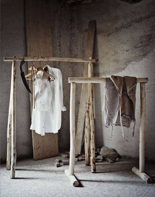 love these rustic clothes racks