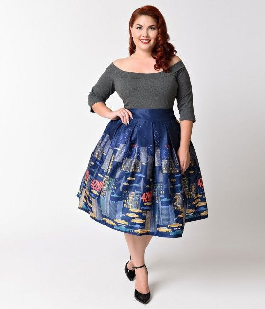 Lindy Bop Plus Size 1950s Navy Blue & New York Print Martine Swing Skirt