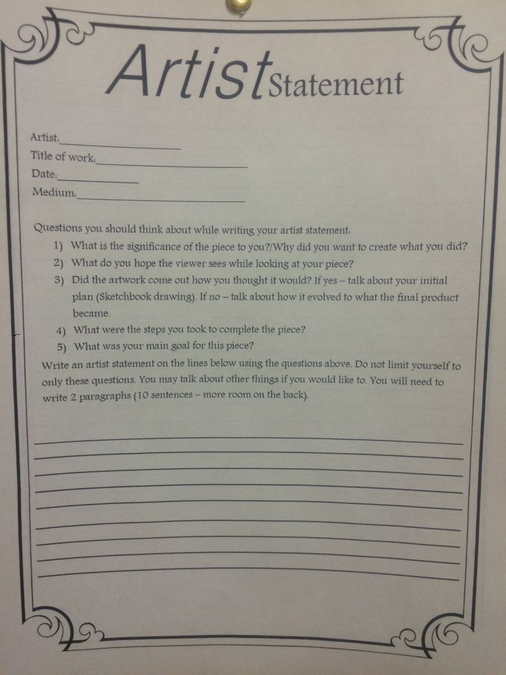 Artist statement worksheet artist statement worksheet
