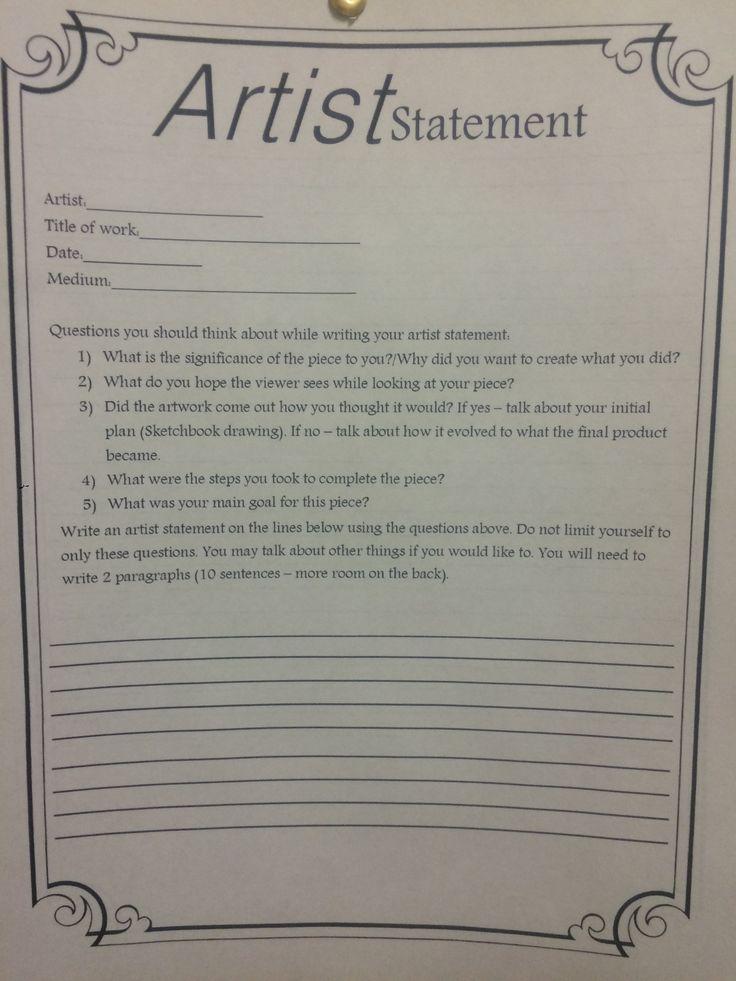 Classroom Ideas Middle School ~ Artist statement worksheet i