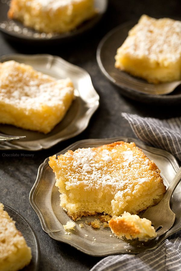 No need to drive to St. Louis when you're craving St Louis Gooey Butter Cake - a flat, dense cake with gooey, buttery center topped with a touch of powdered sugar. Grab your fork and dig it!