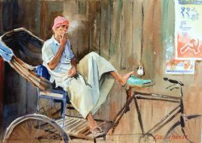 "Smoking Ricksha Wallah Painting By Ramesh Jhawar, Watercolour On Paper, Size: 14"" X 10"" INR 10,000 / $175 #IndianArtCollectors  #Landscapes #BuyArtOnline #IndianPaintings"