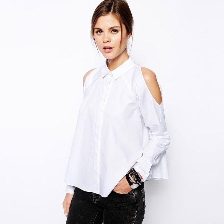 Encontrar Más Blusas y Camisas Información acerca de Mujer de manga larga hombro camisetas Turn Down botón del cuello flojo Hem mujeres blusas blancas de moda CW0238, alta calidad prendas de vestir camisa, China importador de la camisa Proveedores, barato camisa de negocios de Hiyouth en Aliexpress.com