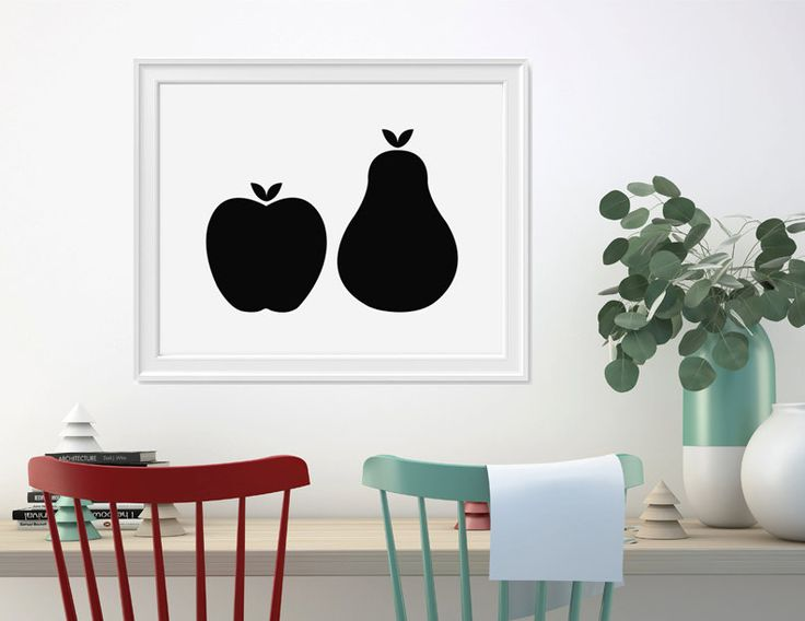 Apple and pear printable monochrome kitchen by HelloOliveDesigns