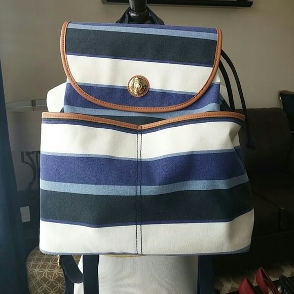 Tommy Hilfiger Backpack Nautical blue and white backpack, used once, has front pockets. Fits alot, great for spring and summer. Tommy Hilfiger Bags Backpacks