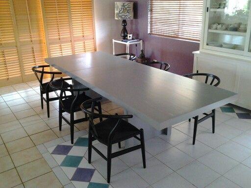 LOFT extendable dining table. American oak veneer finished in Dulux wondspray Grey. www.rzid.com.au