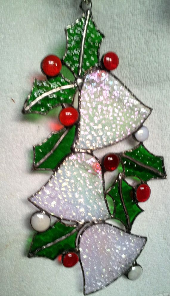 Silver Bells and Holly by Stainedglasslove on Etsy, $24.00