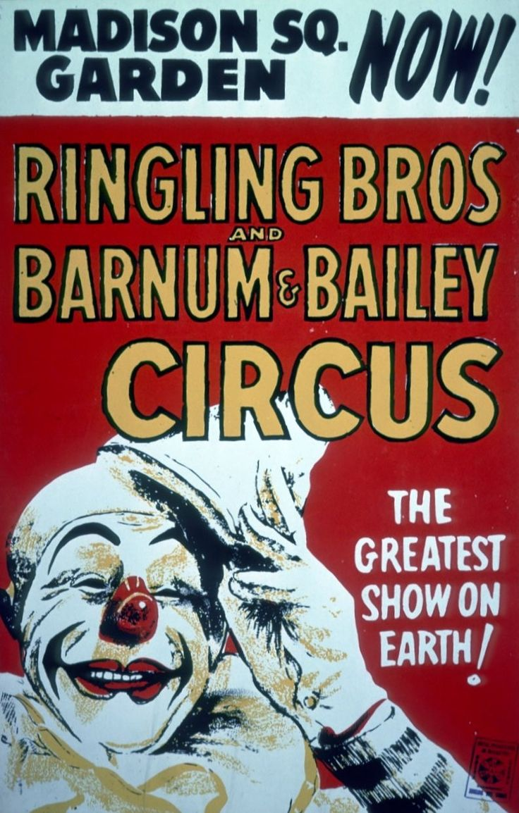 Vintage Ringling Bros And Barnum Bailey Madison Square Garden Circus Poster The Circus