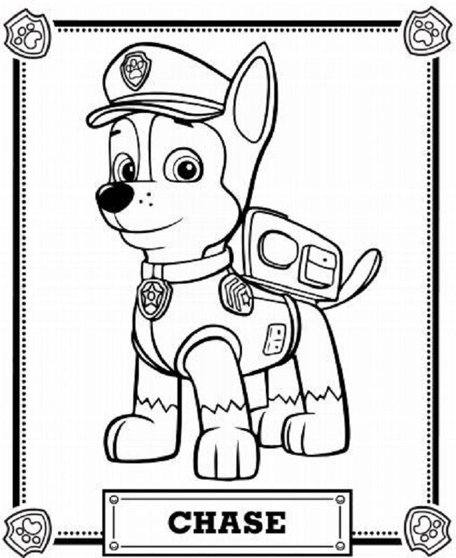 Chase Coloring Pages Paw Patrol
