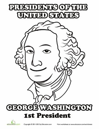 Us presidents george washington and worksheets on pinterest for George washington coloring pages